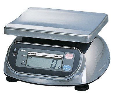 Balance alimentaire étanche, série SKWP de A&D, 5000g X 1g-0