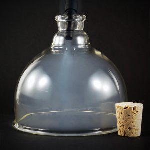 """Cloche de verre en dôme avec ouverture et bouchon de liège, 5"""" dia X 3.5""""H-2891"""