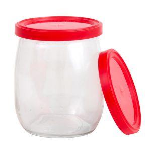 Couvercles rouges pour pots de yogourt 140mL, 100/pqt-0