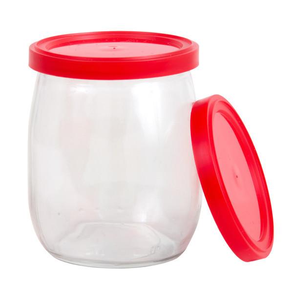 Couvercles rouges pour pots de yogourt 140mL, 100/pqt